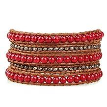 Semi-precious Stone Beads 5 Wrap Bracelet with Metal Nugget