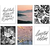 Limited Edition Abstract Fashion Prints - Set of 6 (8x10) Cute Mix of Unique Wall Art Decor - Marble - Photography - Typography - Quotes - Minimalist