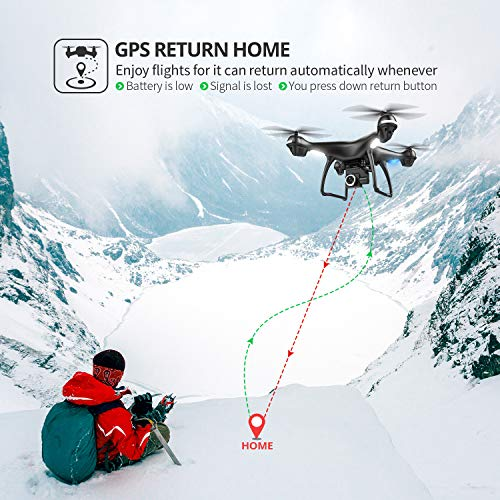Holy Stone 2K GPS FPV RC Drone HS100 with HD Camera Live Video and GPS Return Home, Large Quadcopter with Adjustable Wide-Angle Camera, Follow Me, Altitude Hold, 18 Minutes Flight, Long Control Range