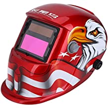 Auto Darkening Welding Helmet Solar Powered 3.62×1.65in/9.2×4.2cm SUPER VIEW TIG MIG Welder Protective Mask with Adjustable Shading DIN9-13 Face Protector for Manufacturing Poland Eagle