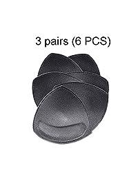 Bra Pads Inserts Women's Comfy Sports Cups Bra Insert 3 Pair Black in Set (6 PCS)