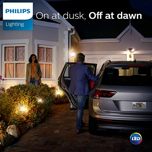 Philips LED 466599 Soft White 60 Watt Equivalent Dusk to Dawn A19 LED Light Bulb, Frustration Free 3 Pack, 3-Pack, 3 Count