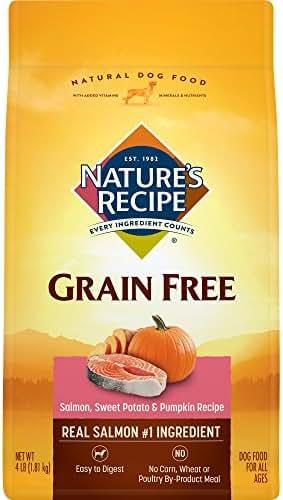 Nature's Recipe Grain Free Easy to Digest Dry Dog Food, Salmon, Sweet Potato & Pumpkin Recipe, 4-Pound