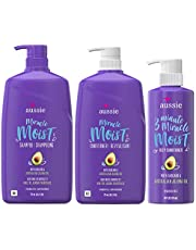 Aussie Miracle Moist Shampoo, Conditioner and 3 Minute Miracle Deep Conditioner Hair Treatment Bundle, Infused with Avocado & Australian Jojoba Oil, Paraben Free