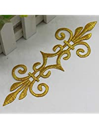 Fiesta YACKALASI 20 Pieces/Lot Iron On Gold and Silver Applique Ironing Cosplay Costume Flowers Patches 17.5cm*6cm: Gold