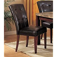 Set of 2 Parson Dining Chairs in Dark Brown Finish