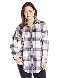 Paper + Tee Women's Plus-Size Collared Plaid Printed Tunic Top
