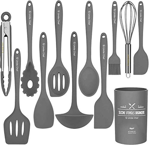 Silicone Kitchen Cooking Utensil Set, Umite Chef 12PCS Kitchen Utensils Spatula Set with Holder for Nonstick Cookware, BPA Free Non Toxic Cooking Gadgets Utensils Set, Kitchen Tools Gift(Gray)