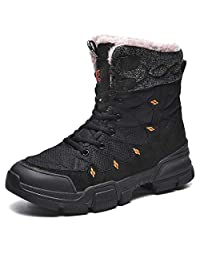 todaysunny Mens Snow Boots Waterproof Ankle Boots Warm Fur Lined Man Outdoor Booties Shoes High Top Lace Up