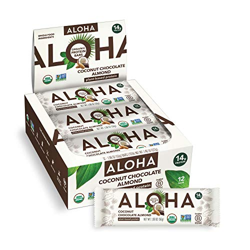 ALOHA Organic Plant Based Protein Bars - Coconut Chocolate Almond - 12 Count, 1.98oz Bars - Vegan, Low Sugar, Gluten Free, Paleo, Low Carb, Non-GMO, Stevia Free, Soy Free, No Sugar Alcohols