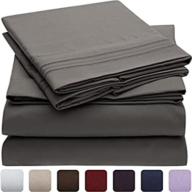 Mellanni Bed Sheet Set - HIGHEST QUALITY Brushed Microfiber 1800 Bedding - Wrinkle, Fade, Stain Resistant - Hypoallergenic - 4 Piece (Queen, Gray)