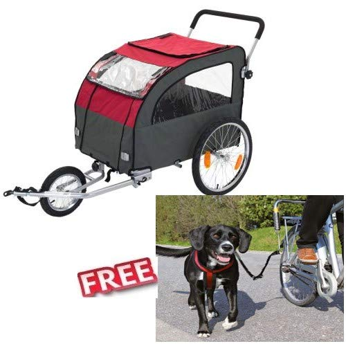 Globetredter Dog Bike Trailer with Jogging Kit 162 x 81 x 104 cm Stable Wooden Floor 40kg Waterproof Fold down for Space-efficient Storage FREE Trixie Biker Set de Luxe