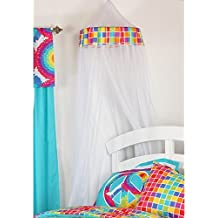 One Grace Place Terrific Tie Dye Canopy (Mesh), Aqua Blue, Royal Blue, Purple, Yellow, Green, Orange, Pink, Red and White