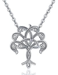 Sterling Silver Celtic Knot Pendant Necklace for Women...