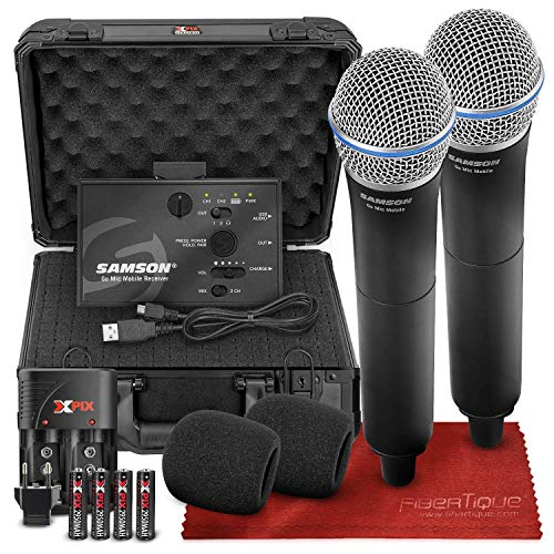 Samson Go Mic Mobile Professional Digital Wireless System with Dual Q8 Dynamic Handheld Mic/Transmitter & Protective Case Bundle