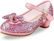 OVEKOS Girls Princess Shoes Sequins Sweet Bows High Heel Wedding Party Dress Shoes Dance Bright Diamond Christ