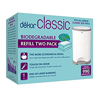 Dekor Classic Diaper Pail Biodegradable Refills | 2 Count | Most Economical Refill System | Quick and Simple to Replace | No Preset Bag Size – Use Only What You Need | Exclusive End-of-Liner Marking