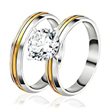 Classic Thin CZ Stainless Steel Plated Gold Rings Set for Women Men Wedding Band Rings Couple