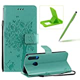 Strap Leather Case for Huawei P30 Lite,[Green Solid