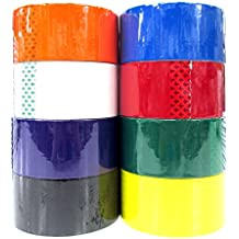 """8 Colored Packing Tape Set (Black, White, Orange, Yellow, Green, Purple, Red, Blue) 1.88"""" x 164 Feet per Roll"""