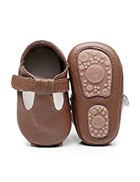 HONGTEYA Baby Boys Girls Fox Mary Jane Sandals Moccasins Shoes Rubber Sole Crib Toddler Leather Walking Prewalker (18-24 Months/US 7.5/5.71''/See Size Chart, Brown)