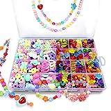 Bead Kidsset para hacer joyas – kits de abalorio para niñas pequeñas DIY collares pulsera niños juegos colorido acrílico hecho a mano conjunto de abalorio accesorios regalo para niños, HUATK, Color4, 1