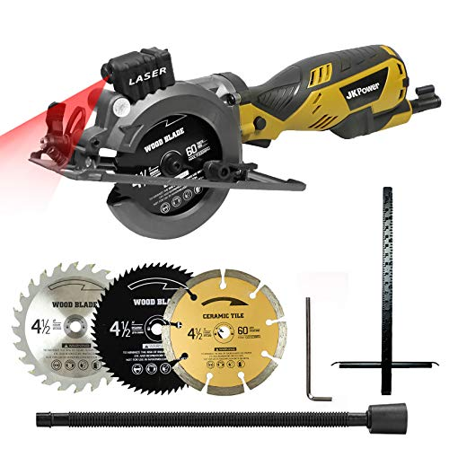 "Mini Circular Saw with Laser Guide, 3 Blades(4-1/2""), Max Cutting Depth 1-11/16""(90°), 1-1/8""(45°),Ideal for Wood/Tile,Backerboard/Cement/Drywall"