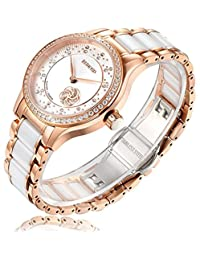 RUNOSD Women's Diamond Stainless Steel Ceramic Watch Rose Gold Fully Automatic Mechanical Watch 8157L