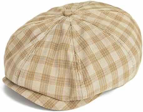 VOBOOM Plaid Cotton 8 pannnel Newsboy Caps Ivy Hat Cabbie Gatsby Hat MZ103 4628c209a68b