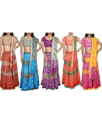 Wholesale Lot of 5 Indian Bohemian Bandhej Sequins Work Cotton Lehenga Choli