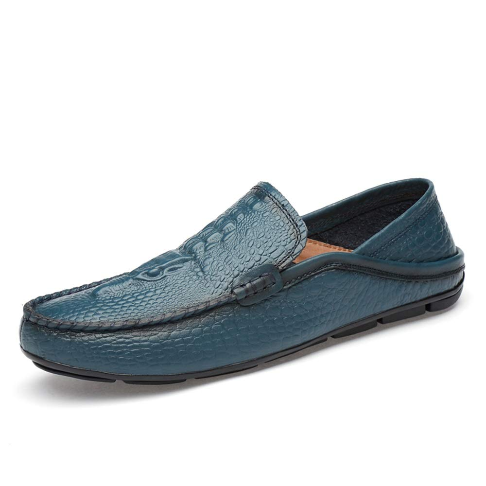 bluee HYF Oxford shoes Casual Dress Boat shoes for Men Breathable Loafers Flat Leather Upper Hand-Made Slip On Round Toe Dress shoes