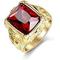 Promsup Mens Gold Stainless Steel Princess Red Garnet Signet Gemstone Band Ring Jewelry (11)