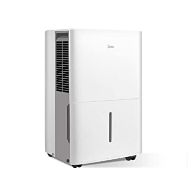 MIDEA MAD50C1ZWS Dehumidifier 70 Pint with Reusable Filter, Ideal for basements, bedroom, bathroom, with bucket of 1.6 gallon, Pint (50 Pint New DOE)