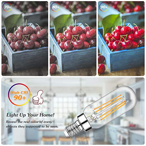 Dimmable T6 LED Bulbs 60W Equivalent, 6W 600lm E12 Edison Light Bulb Candelabra Base, 2700K Warm White, Clear Vintage Tubular Bulb, Small Filament Bulb for Chandelier Ceiling Light, 12-Pack