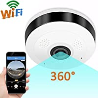 GBD IP Camera 360 Degree Panoramic Fisheye 3D VR Wireless Wifi 2.4GHZ Home Security Camera Outdoor Super Wide Angle IR Night Safe Motion Detection (White)