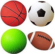 "Set of 4 Sports Balls with 1 Pump, 5"" Soccer Ball, 5"" Basketball, 5"" Playground Ball"