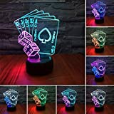Poker Card Dice LED 3D Illusion USB Lamp Mixed Color Optical Night Light Christmas Present Birthday Gift for Little Boy Boyfriend Men Husband Sports Fan Kid Nursery Bedroom Room Decor (Pokerdice)