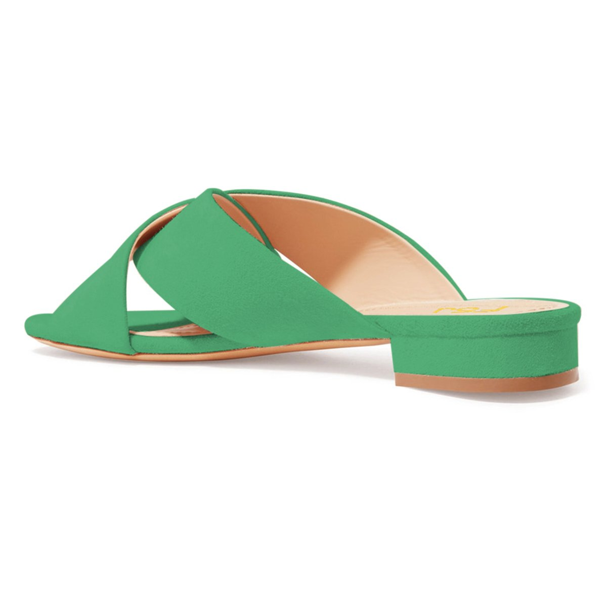 FSJ Women Comfortable Cross Strap Sandals Low Heels Mules Slide Casual Flats Shoes Size 4-15 US B07CTJ4G73 7 B(M) US|Green