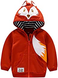 Baby Boys Cotton Cartoon Fox Zip Front Jacket Hoodie Sweatshirt