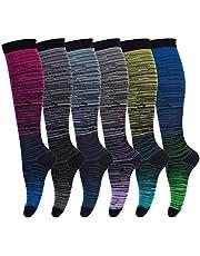 Compressie sokken voor mannen en vrouwen (6 paar) antislip lange buis ideaal voor hardlopen, verpleging, circulatie en herstel boost uithoudingsvermogen, wandelen reizen en vlucht sokken 20-30 mmHg