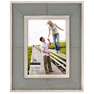 Malden International Designs Sun Washed Woods Gray Distressed With Inner Frame Border Picture Frame, 5x7, Gray