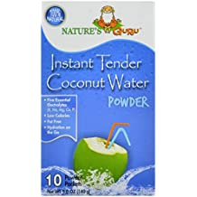 Nature's Guru Natural Instant Tender Coconut Water Powder, 10-Count Packages (Pack of 4), Convenient On-the-Go Instant Hydration in Single Serve Packets, All Natural, Good Source of Electrolytes