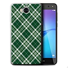 STUFF4 Gel TPU Phone Case / Cover for Huawei Y6 2017 / Dark Green Design / Tartan Picnic Pattern Collection
