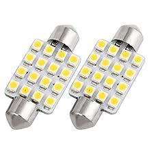 """SAGUARO Pack of 2 White 42mm (1.72"""") 3528 16-SMD 12V Car Festoon Interior Dome Light LED Bulbs 211-2 212-2 569 578 Internal"""