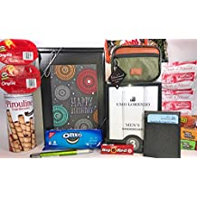 Men's Birthday Gift Box Basket II Prime - Send Happy Birthday Wishes to Friend Dad Grandpa Brother With These 4 Macho Gifts and 17 Delicious Treats Today!