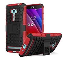 ASUS ZenFone Selfie Case - MoKo Heavy Duty Rugged Dual Layer Armor with Kickstand Protective Case for ASUS ZenFone Selfie 5.5 Inch 2015 Smartphone, RED (Not for other ASUS mobile devices)