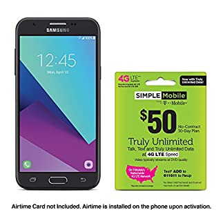 Simple Mobile Samsung Galaxy J3 Luna Pro 4G LTE Prepaid Smartphone with Free $50 Airtime Bundle