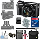 Canon PowerShot G7 X Mark II Digital Camera Wi-Fi Enabled + 32GB High Speed SD Card + Camera Case + Card Reader + Cleaning Kit + Extra Battery and Charger + Flexible Tripod - International Version