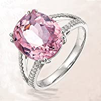 Nongkhai shop Fashion Tourmaline Ring Pink Gemstone Wedding Silver Ring For Women Jewelry (7)