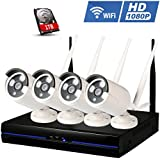 1080P Wireless Camera Security System, Amgaze Wifi 4CH Surveillance Camera Kit, IP Bullet Camera Kit, IP66 Waterproof 65FT Night Visio, 1TB HDD Pre-installed (2.0 MP White)